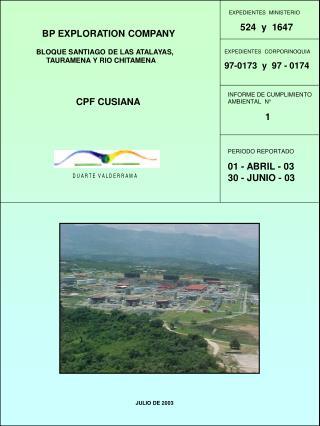 BP EXPLORATION COMPANY                 BLOQUE SANTIAGO DE LAS ATALAYAS,