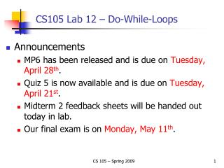 CS105 Lab 12 – Do-While-Loops