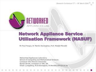 Network Appliance Service Utilisation Framework (NASUF)