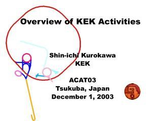 Shin-ichi Kurokawa KEK  ACAT03 Tsukuba, Japan December 1, 2003