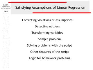 Satisfying Assumptions of Linear Regression