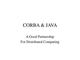 CORBA & JAVA
