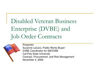Disabled Veteran Business Enterprise (DVBE) and  Job Order Contracts