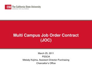 Multi Campus Job Order Contract (JOC)