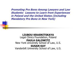LIUBOU KRASNITSKAYA Legal Clinics Foundation, Poland