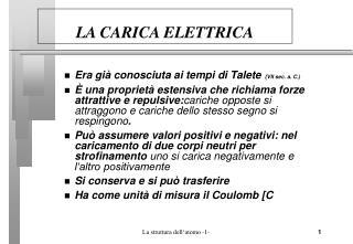 LA CARICA ELETTRICA