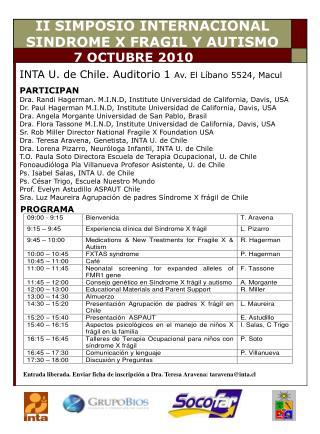 II SIMPOSIO INTERNACIONAL SINDROME X FRAGIL Y AUTISMO
