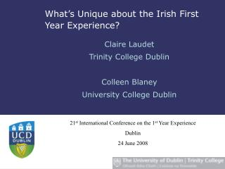 What's Unique about the Irish First Year Experience?