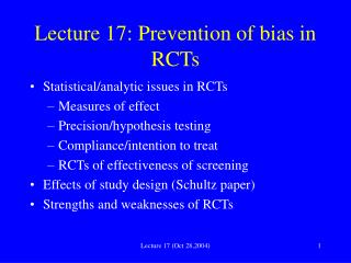 Lecture 17: Prevention of bias in RCTs