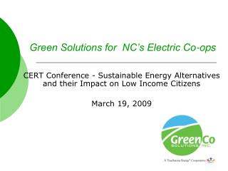 Green Solutions for  NC's Electric Co-ops
