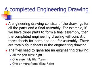 A completed Engineering Drawing