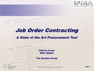 Job Order Contracting A State of the Art Procurement Tool Charles Crane Mike Shiplet