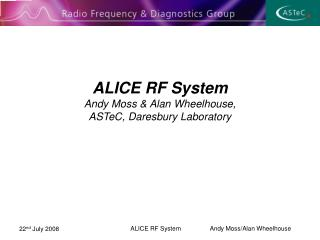 ALICE RF System Andy Moss & Alan Wheelhouse, ASTeC, Daresbury Laboratory