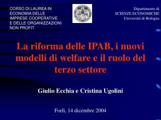 Dipartimento di  SCIENZE ECONOMICHE  Università di Bologna