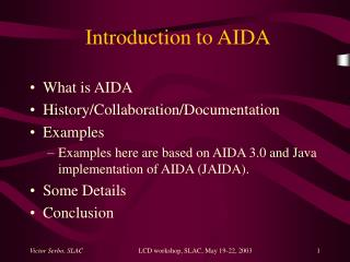 Introduction to AIDA