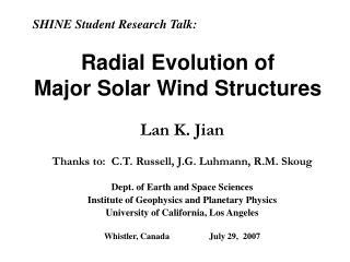 Radial Evolution of  Major Solar Wind Structures