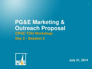 PG&E Marketing & Outreach Proposal