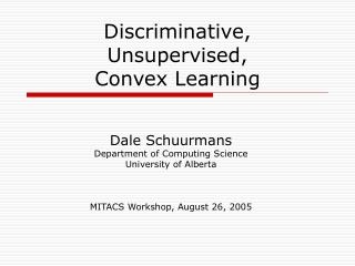 Discriminative,  Unsupervised,  Convex Learning
