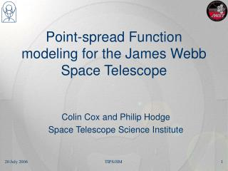 Point-spread Function modeling for the James Webb Space Telescope