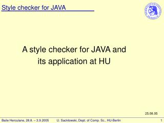 A style checker for JAVA and  its application at HU