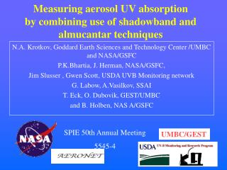 Measuring aerosol UV absorption  by combining use of shadowband and almucantar techniques