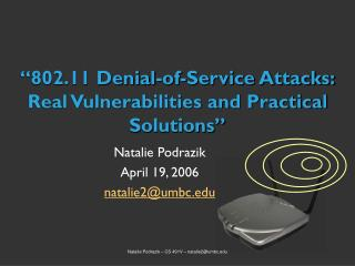 """802.11 Denial-of-Service Attacks: Real Vulnerabilities and Practical Solutions"""