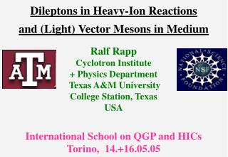 Dileptons in Heavy-Ion Reactions and (Light) Vector Mesons in Medium