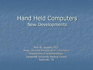 Hand Held Computers New Developments