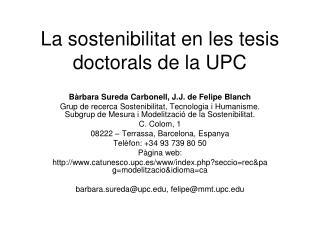 La sostenibilitat en les tesis doctorals de la UPC