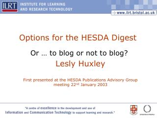 Options for the HESDA Digest