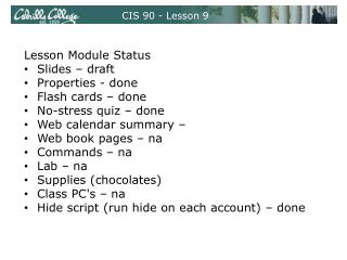 CIS 90 - Lesson 9