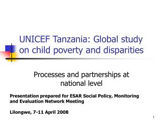 UNICEF Tanzania: Global study on child poverty and disparities