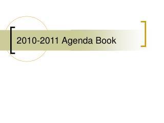 2010-2011 Agenda Book
