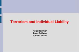 Terrorism and Individual Liability