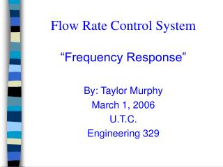 Flow Rate Control System