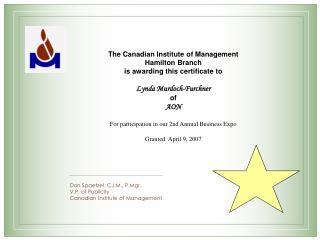 Don Spaetzel, C.I.M., P.Mgr. V.P. of Publicity Canadian Institute of Management