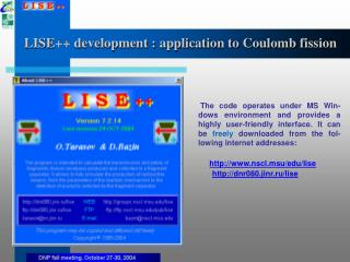 LISE++ development : application to Coulomb fission