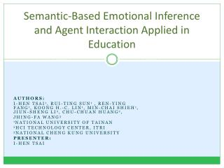 Semantic-Based Emotional Inference and Agent Interaction Applied in Education