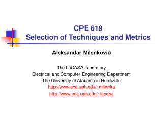 CPE 619 Selection of Techniques and Metrics