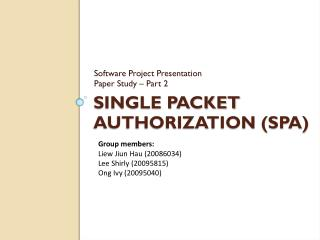 Single Packet Authorization (SPA)