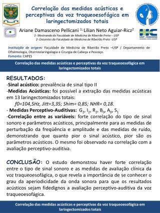 Correlação das medidas acústicas e perceptivas da voz traqueoesofágica em laringectomizados totais