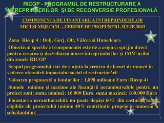 COMPONENTA DE FINANŢARE A INTREPRINDERILOR  MICI SI MIJLOCII   -  CERERE DE PROPUNERI- IULIE 2003