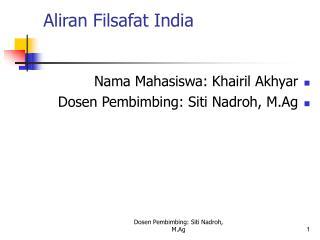 Aliran Filsafat India