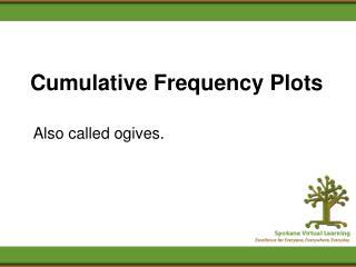 Cumulative Frequency Plots