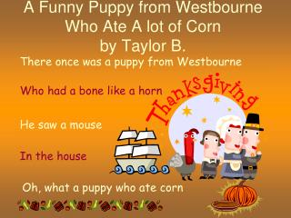 A Funny Puppy from Westbourne Who Ate A lot of Corn by Taylor B.