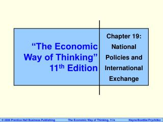 """The Economic Way of Thinking"" 11 th  Edition"