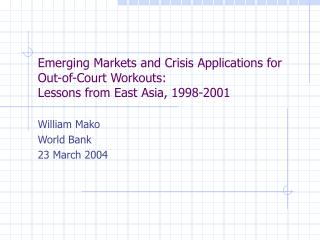 William Mako World Bank 23 March 2004