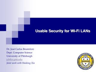 Usable Security for Wi-Fi LANs