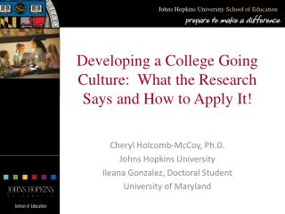 Developing a College Going Culture:  What the Research Says and How to Apply It