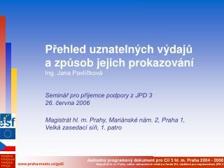 P ř ehled uznatelných výdaj ů  a zp ů sob jejich  prokazování Ing. Jana Pavlíčková